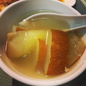 Loved this clear potato soup with the skins on! This was served with the dish below.