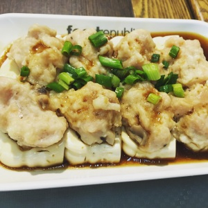 Shrimp dumplings on top of silken tofu with the lightest soy sauce ever. Happy we chose to eat at the Silvercord Mall food court.
