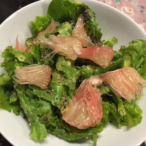 The same salad with pomelo. You can also add tuna or chicken for a heartier meal and other fresh fruit or veggies like bell pepper and tomato.